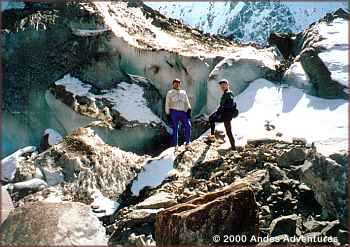 Exploring glacier of Nevado Colque-Cruz
