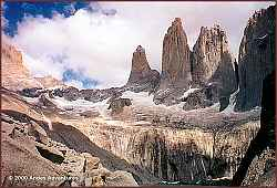 Torres del Paine, with views of Torre Sur (9,350'), Torre Central (9,186') and Torre Norte (8,350')
